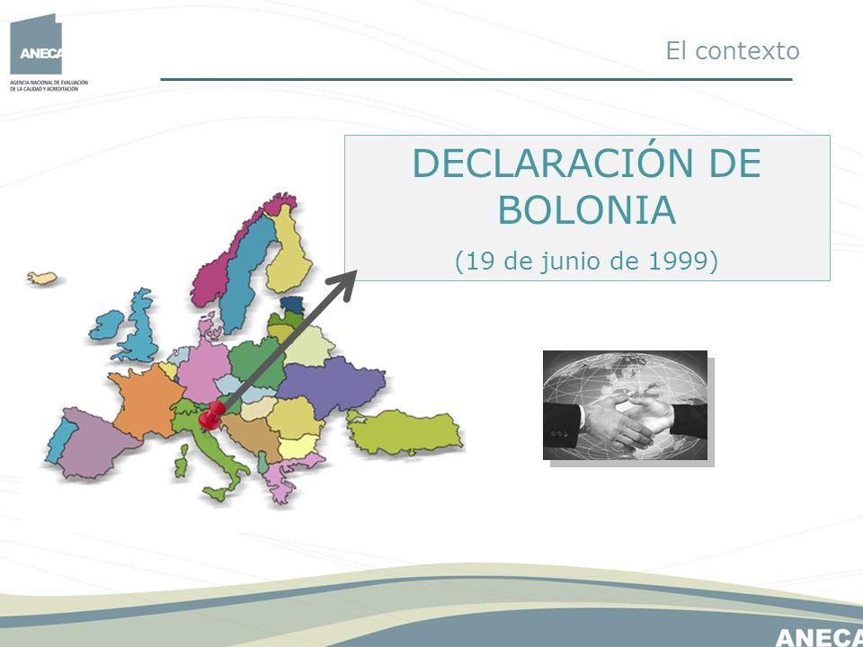 ESPACIO EUROPEO DE EDUCACIÓN SUPERIOR 1.Títulos fácilmente comprensibles y comparables (Suplemento europeo al título) 2.Dos ciclos 3.Créditos ECTS (European Credit Transfer System) 4.Promoción de la Movilidad 5.Promoción de la dimensión europea en la enseñanza superior 6.Aseguramiento de la calidad COMPROMISO DE LOS PAÍSES FIRMANTES: Coordinar las políticas educativas para alcanzar antes de 2010: El contexto
