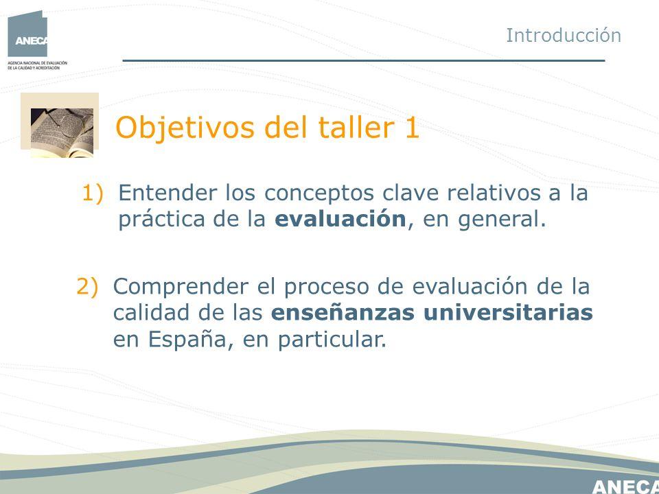 Objetivos del taller 1 Introducción 1)Entender los conceptos clave relativos a la práctica de la evaluación, en general. 2)Comprender el proceso de ev