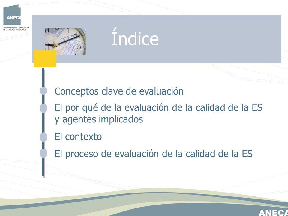 Conceptos clave de evaluación El por qué de la evaluación de la calidad de la ES y agentes implicados El contexto El proceso de evaluación de la calid