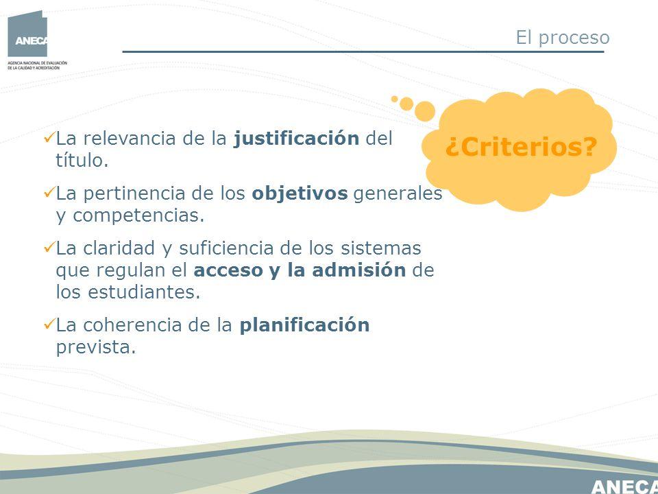 ¿Criterios? La relevancia de la justificación del título. La pertinencia de los objetivos generales y competencias. La claridad y suficiencia de los s