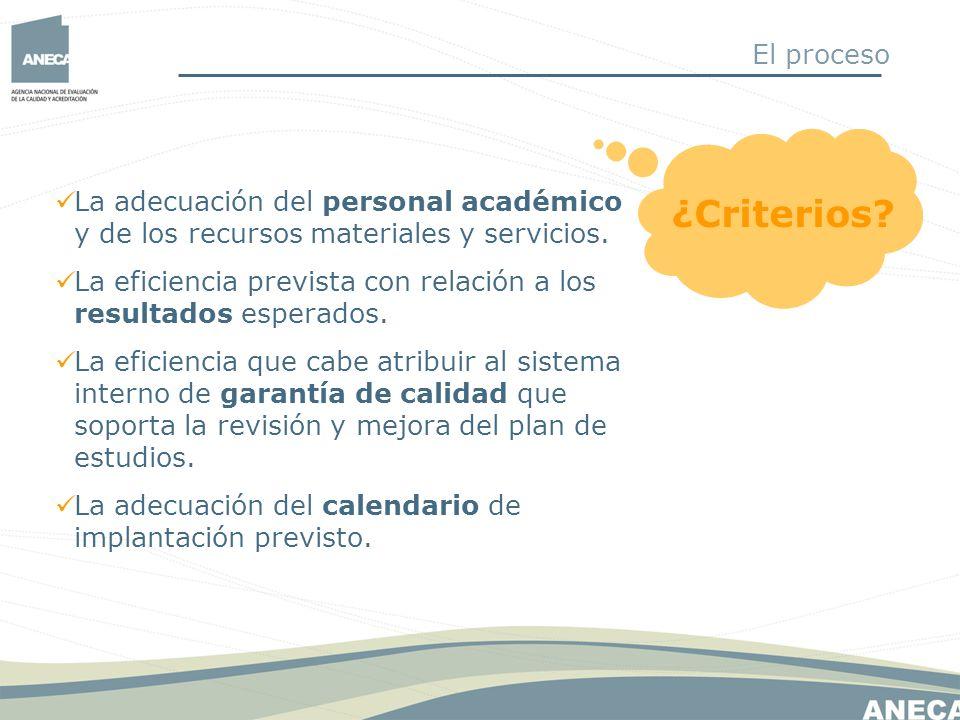¿Criterios? La adecuación del personal académico y de los recursos materiales y servicios. La eficiencia prevista con relación a los resultados espera