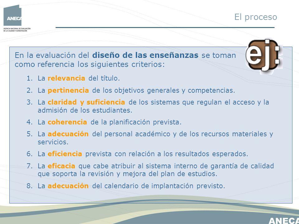En la evaluación del diseño de las enseñanzas se toman como referencia los siguientes criterios: 1.La relevancia del título. 2.La pertinencia de los o