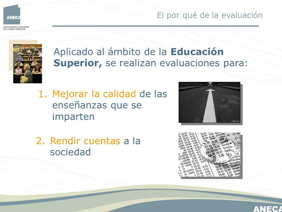 Aplicado al ámbito de la Educación Superior, se realizan evaluaciones para: 1.Mejorar la calidad de las enseñanzas que se imparten 2.Rendir cuentas a