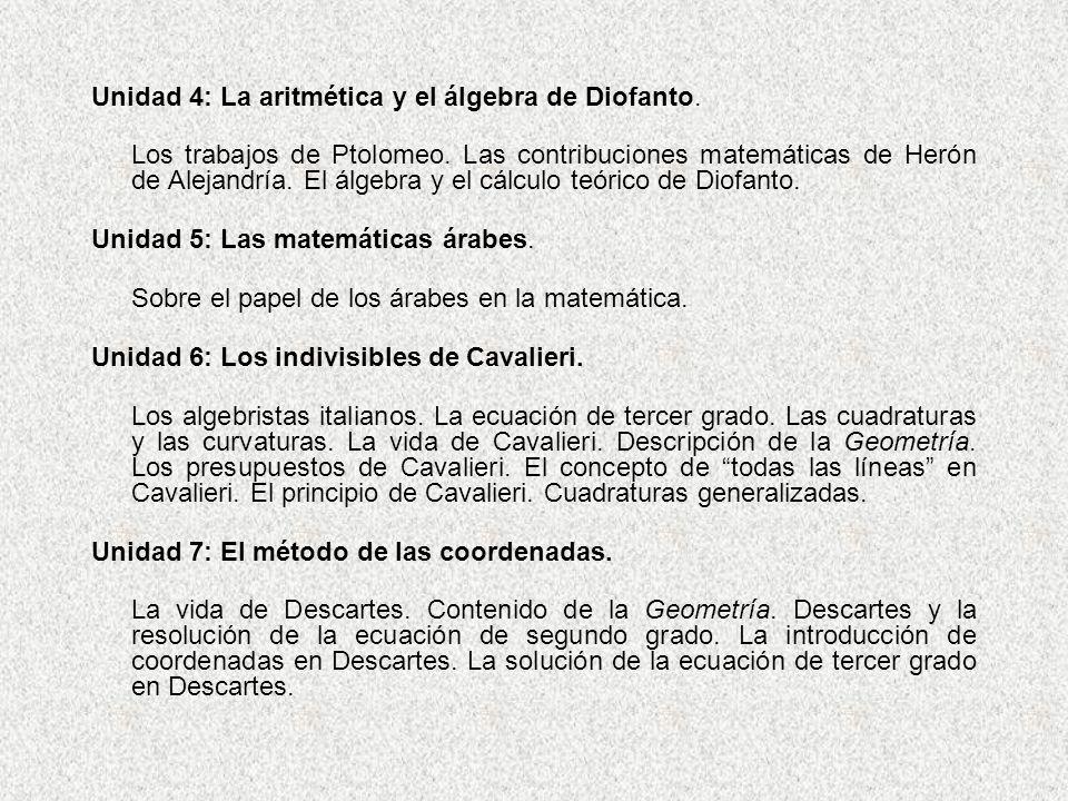 Unidad 4: La aritmética y el álgebra de Diofanto. Los trabajos de Ptolomeo. Las contribuciones matemáticas de Herón de Alejandría. El álgebra y el cál