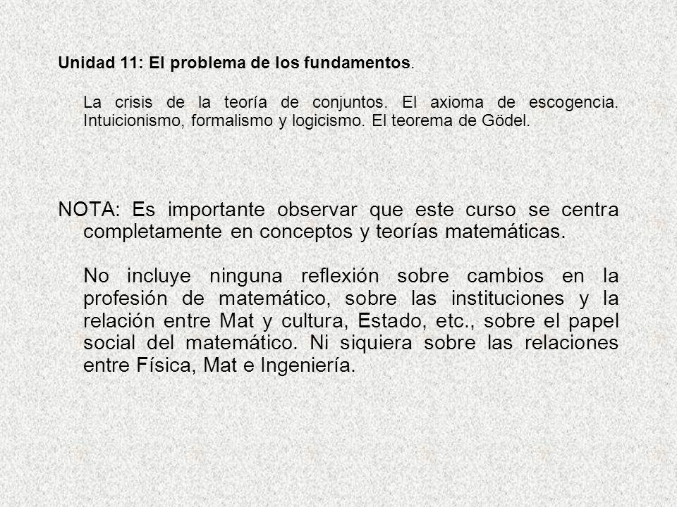 Unidad 11: El problema de los fundamentos. La crisis de la teoría de conjuntos. El axioma de escogencia. Intuicionismo, formalismo y logicismo. El teo