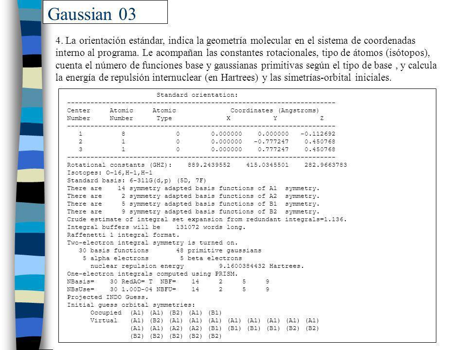 Gaussian 03 Standard orientation: --------------------------------------------------------------------- Center Atomic Atomic Coordinates (Angstroms) N