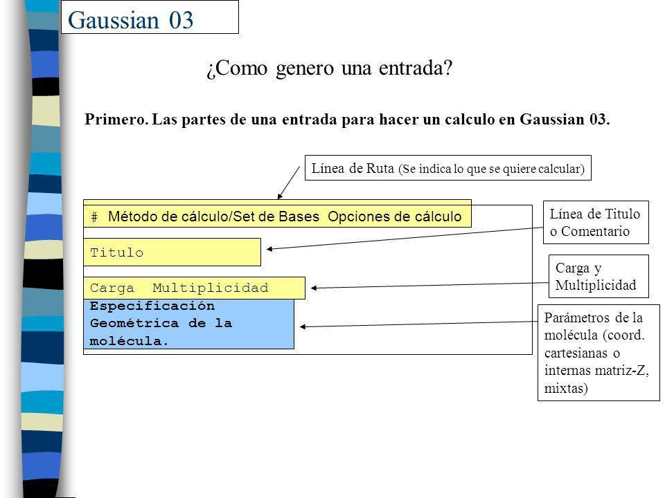 Gaussian 03 ¿Como genero una entrada? # Método de cálculo/Set de Bases Opciones de cálculo Titulo Carga Multiplicidad Especificación Geométrica de la