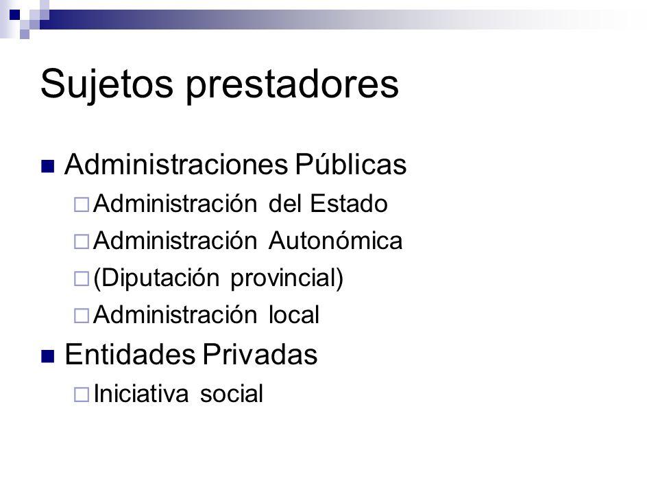 Sujetos prestadores Administración del Estado Ministerio de Asuntos Sociales Defensor del Pueblo