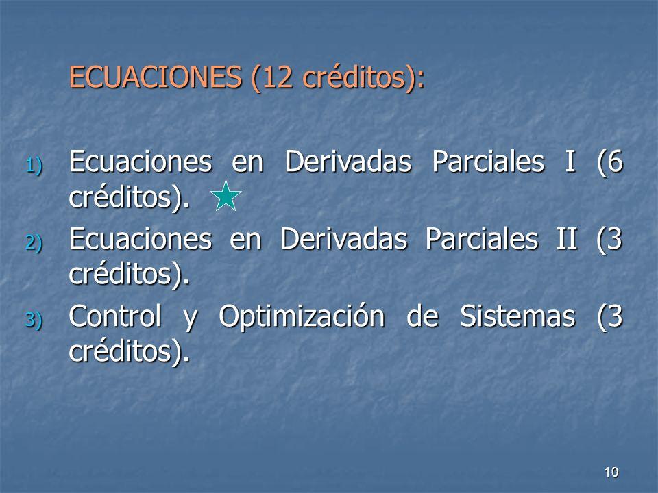 10 ECUACIONES (12 créditos): 1) Ecuaciones en Derivadas Parciales I (6 créditos).