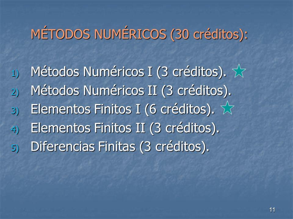 11 MÉTODOS NUMÉRICOS (30 créditos): 1) Métodos Numéricos I (3 créditos).