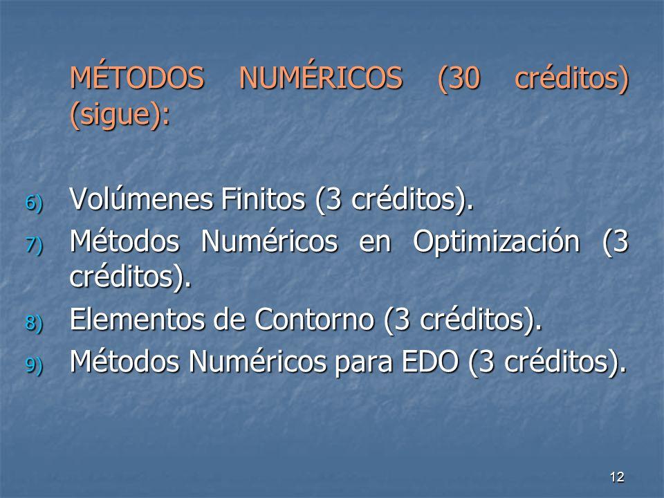 12 MÉTODOS NUMÉRICOS (30 créditos) (sigue): 6) Volúmenes Finitos (3 créditos).