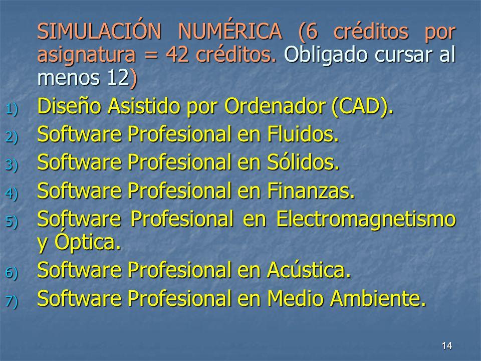 14 SIMULACIÓN NUMÉRICA (6 créditos por asignatura = 42 créditos.
