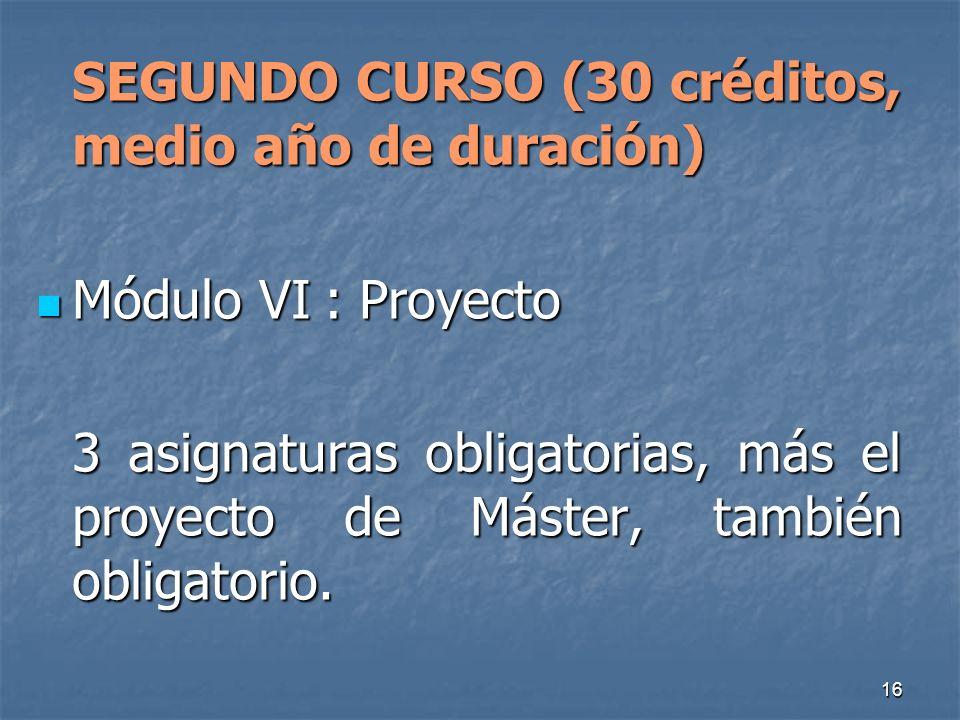 16 SEGUNDO CURSO (30 créditos, medio año de duración) Módulo VI: Proyecto Módulo VI: Proyecto 3 asignaturas obligatorias, más el proyecto de Máster, también obligatorio.