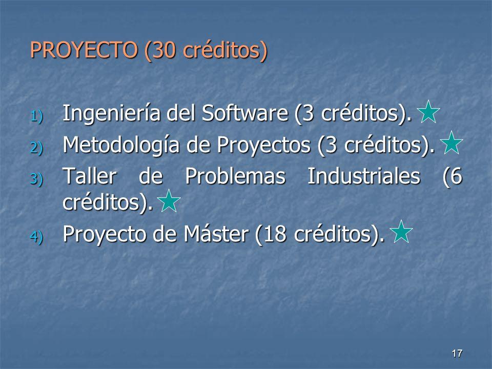 17 PROYECTO (30 créditos) 1) Ingeniería del Software (3 créditos).
