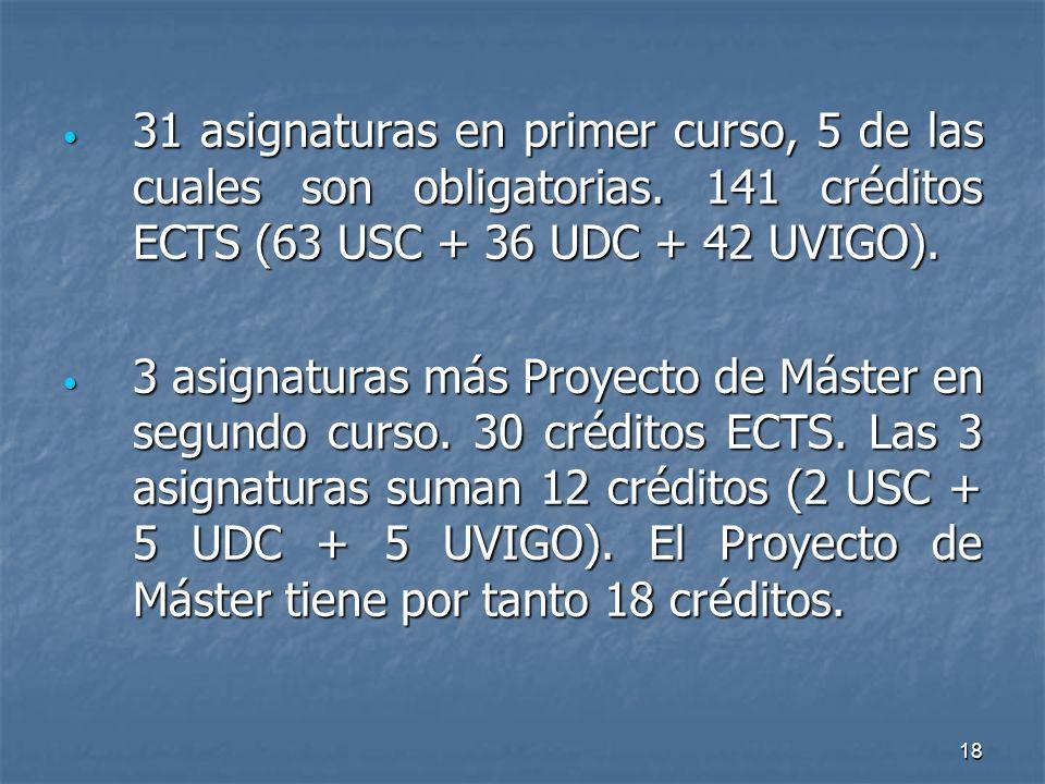 18 31 asignaturas en primer curso, 5 de las cuales son obligatorias.