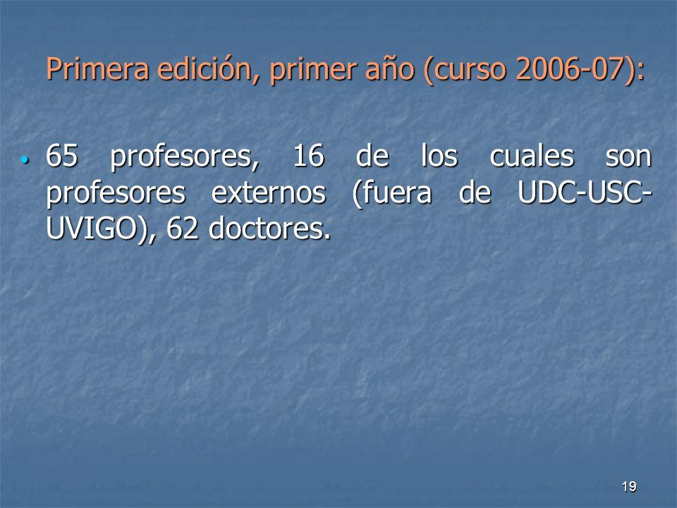 19 Primera edición, primer año (curso 2006-07): 65 profesores, 16 de los cuales son profesores externos (fuera de UDC-USC- UVIGO), 62 doctores.