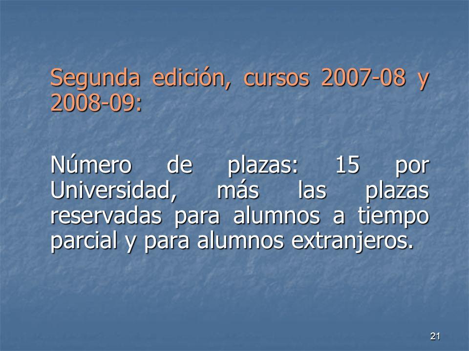 21 Segunda edición, cursos 2007-08 y 2008-09: Número de plazas: 15 por Universidad, más las plazas reservadas para alumnos a tiempo parcial y para alumnos extranjeros.