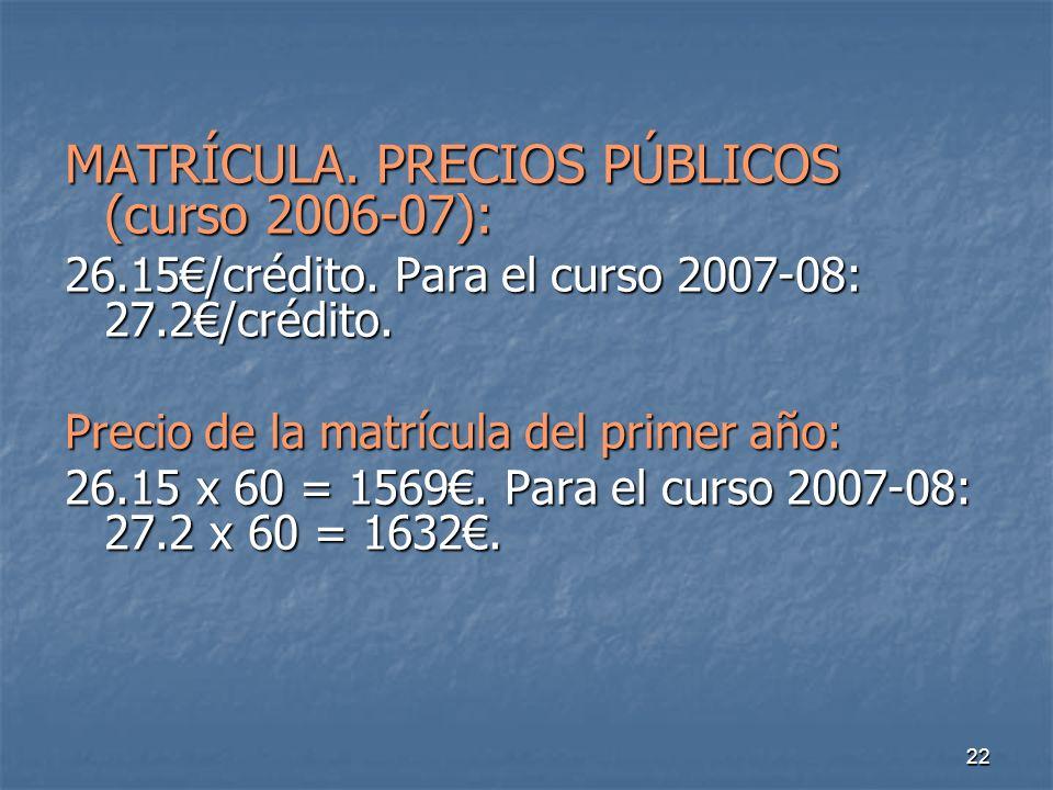 22 MATRÍCULA. PRECIOS PÚBLICOS (curso 2006-07): 26.15/crédito.