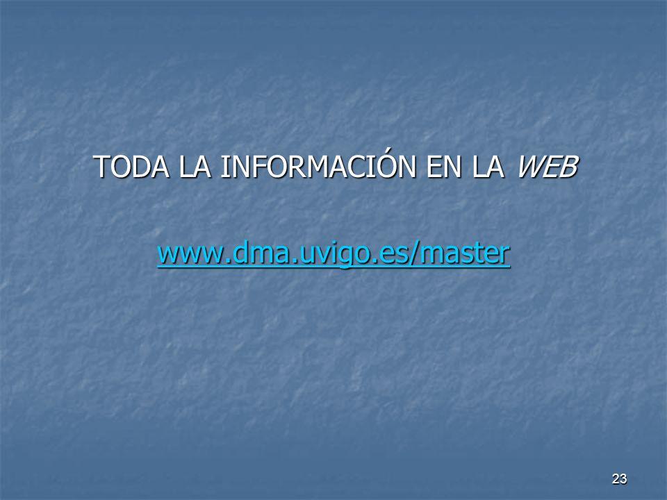 23 TODA LA INFORMACIÓN EN LA WEB www.dma.uvigo.es/master