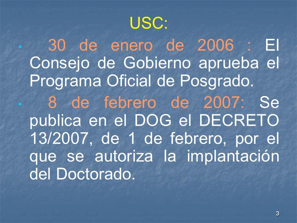 3 USC: 30 de enero de 2006 : El Consejo de Gobierno aprueba el Programa Oficial de Posgrado.