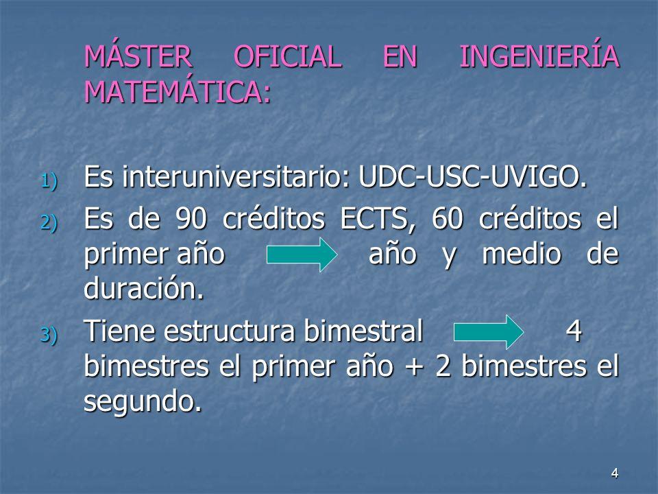 4 MÁSTER OFICIAL EN INGENIERÍA MATEMÁTICA: 1) Es interuniversitario: UDC-USC-UVIGO.