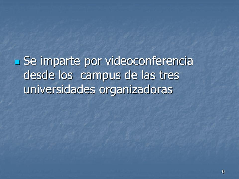 6 Se imparte por videoconferencia desde los campus de las tres universidades organizadoras Se imparte por videoconferencia desde los campus de las tres universidades organizadoras