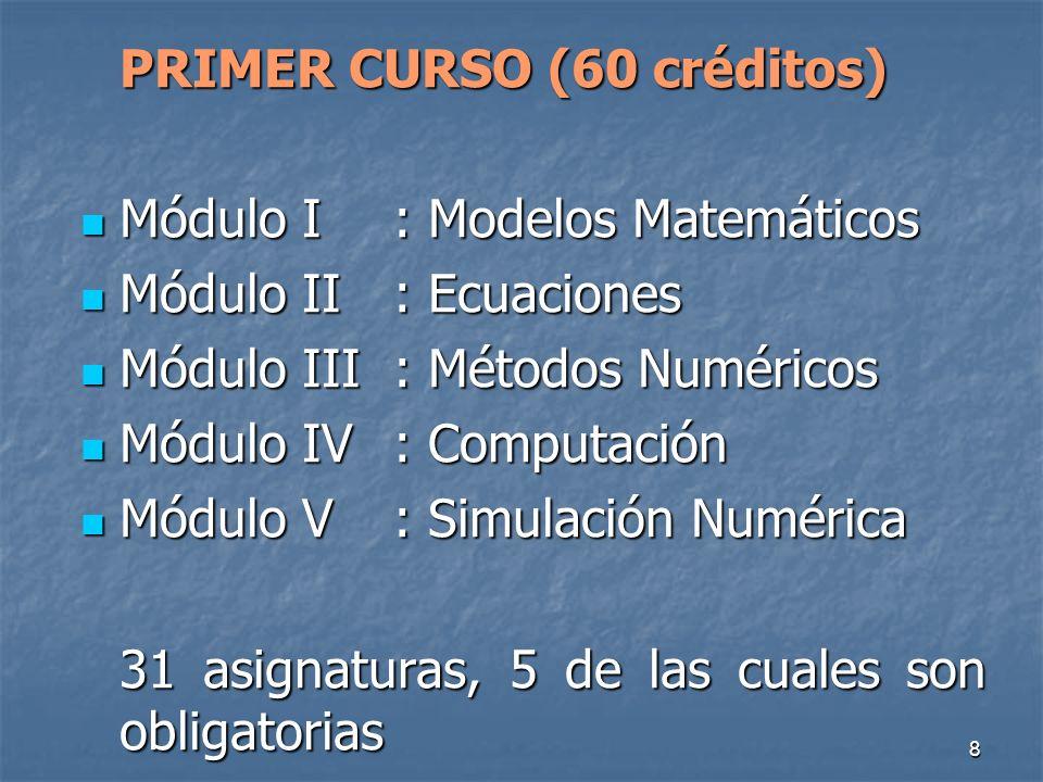 8 PRIMER CURSO (60 créditos) Módulo I: Modelos Matemáticos Módulo I: Modelos Matemáticos Módulo II: Ecuaciones Módulo II: Ecuaciones Módulo III: Métodos Numéricos Módulo III: Métodos Numéricos Módulo IV: Computación Módulo IV: Computación Módulo V: Simulación Numérica Módulo V: Simulación Numérica 31 asignaturas, 5 de las cuales son obligatorias