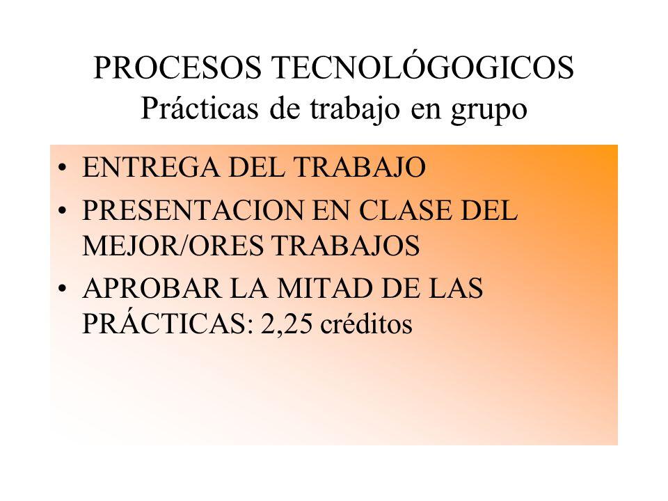 PROCESOS TECNOLÓGOGICOS Prácticas de trabajo en grupo ENTREGA DEL TRABAJO PRESENTACION EN CLASE DEL MEJOR/ORES TRABAJOS APROBAR LA MITAD DE LAS PRÁCTI