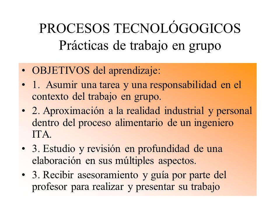 PROCESOS TECNOLÓGOGICOS Prácticas de trabajo en grupo OBJETIVOS del aprendizaje: 1. Asumir una tarea y una responsabilidad en el contexto del trabajo