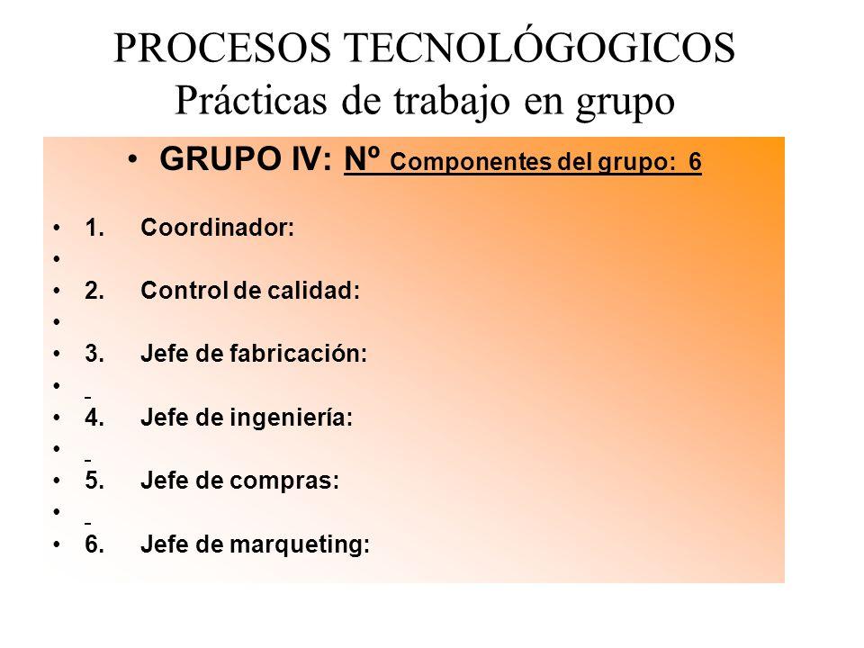 PROCESOS TECNOLÓGOGICOS Prácticas de trabajo en grupo GRUPO IV: Nº Componentes del grupo: 6 1. Coordinador: 2. Control de calidad: 3. Jefe de fabricac