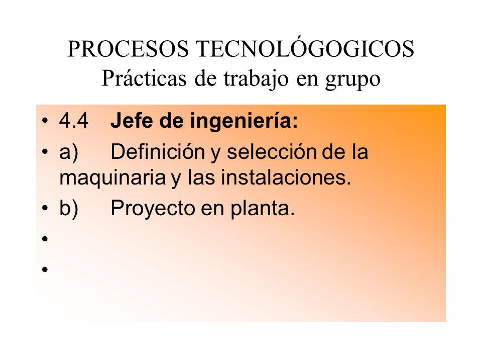 PROCESOS TECNOLÓGOGICOS Prácticas de trabajo en grupo 4.4 Jefe de ingeniería: a) Definición y selección de la maquinaria y las instalaciones. b) Proye