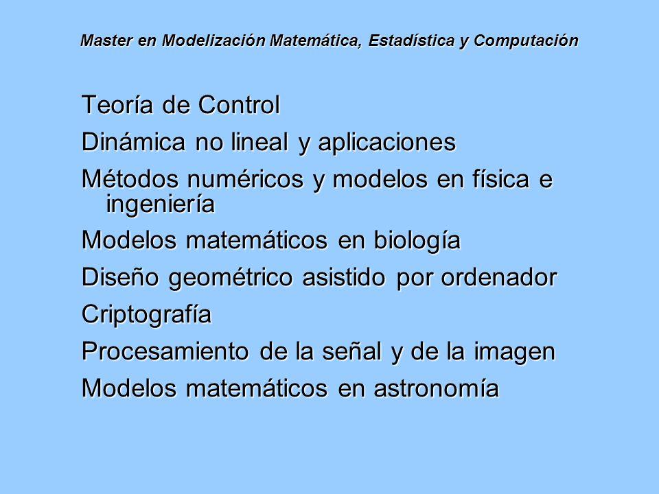 Master en Modelización Matemática, Estadística y Computación Teoría de Control Dinámica no lineal y aplicaciones Métodos numéricos y modelos en física