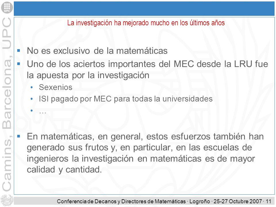 Conferencia de Decanos y Directores de Matemáticas · Logroño · 25-27 Octubre 2007 · 11 No es exclusivo de la matemáticas Uno de los aciertos important