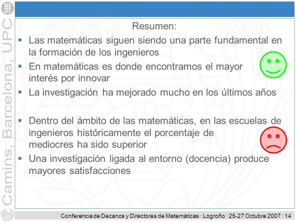 Conferencia de Decanos y Directores de Matemáticas · Logroño · 25-27 Octubre 2007 · 14 Resumen: Las matemáticas siguen siendo una parte fundamental en