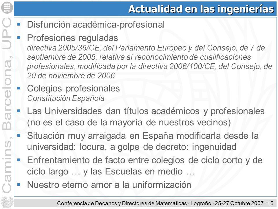 Conferencia de Decanos y Directores de Matemáticas · Logroño · 25-27 Octubre 2007 · 15 Actualidad en las ingenierías Disfunción académica-profesional