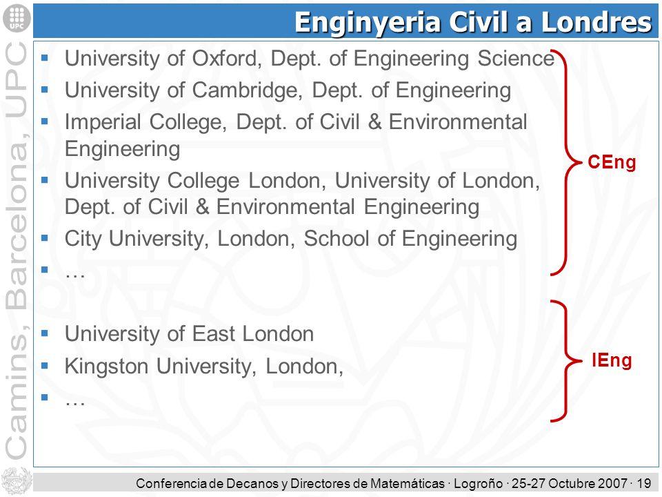 Conferencia de Decanos y Directores de Matemáticas · Logroño · 25-27 Octubre 2007 · 19 Enginyeria Civil a Londres University of Oxford, Dept. of Engin