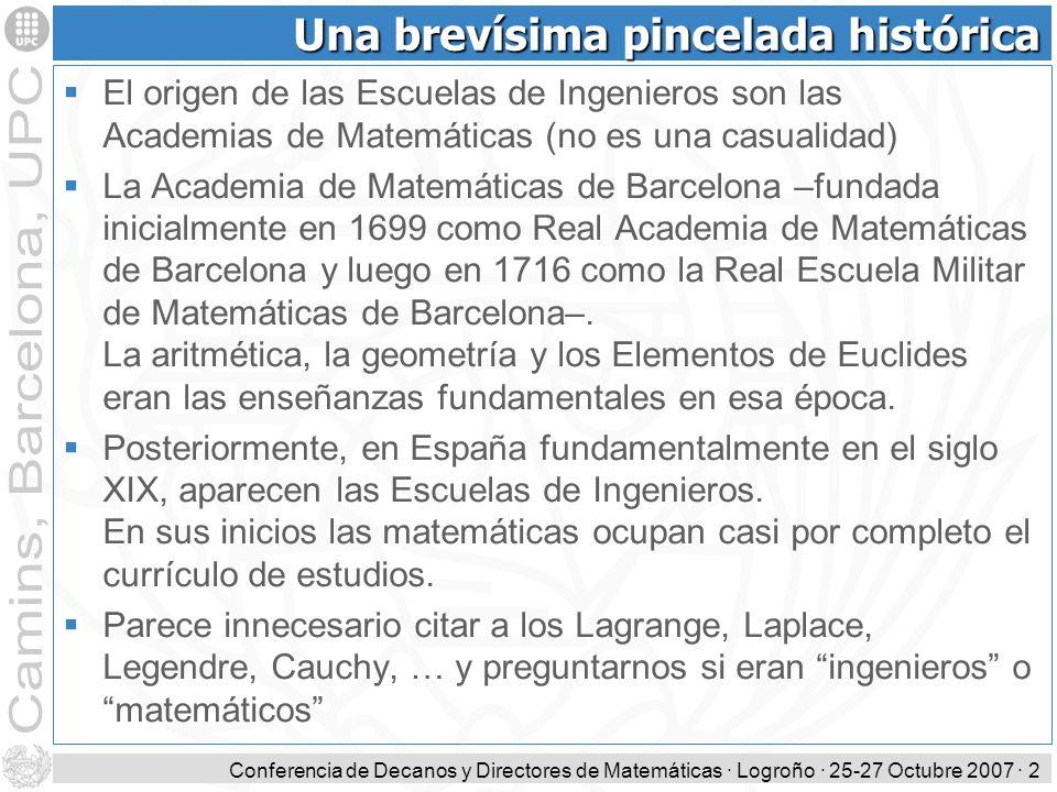 Conferencia de Decanos y Directores de Matemáticas · Logroño · 25-27 Octubre 2007 · 2 Una brevísima pincelada histórica El origen de las Escuelas de I