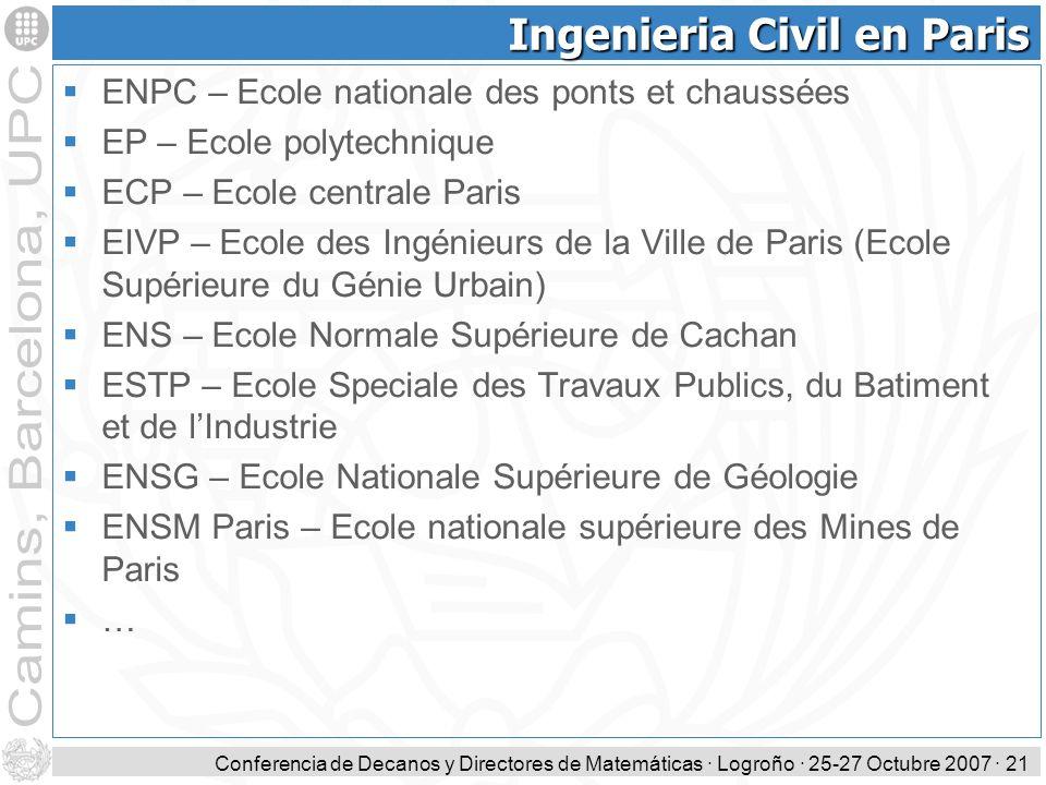 Conferencia de Decanos y Directores de Matemáticas · Logroño · 25-27 Octubre 2007 · 21 Ingenieria Civil en Paris ENPC – Ecole nationale des ponts et c