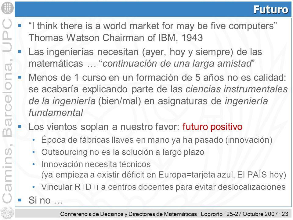 Conferencia de Decanos y Directores de Matemáticas · Logroño · 25-27 Octubre 2007 · 23 Futuro I think there is a world market for may be five computer
