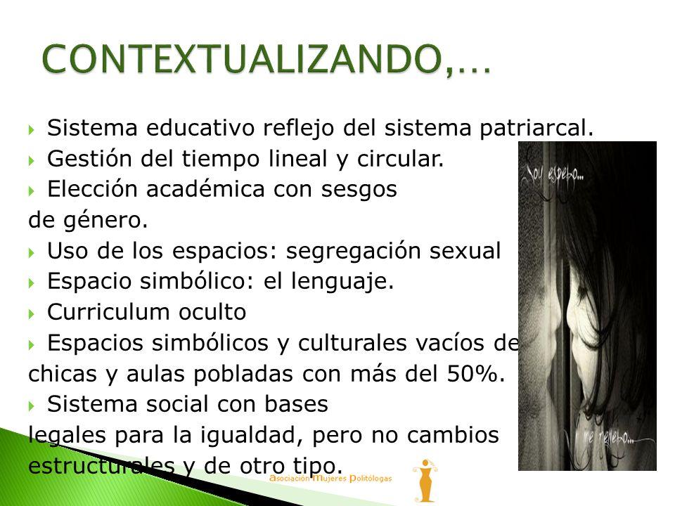 Sistema educativo reflejo del sistema patriarcal. Gestión del tiempo lineal y circular. Elección académica con sesgos de género. Uso de los espacios:
