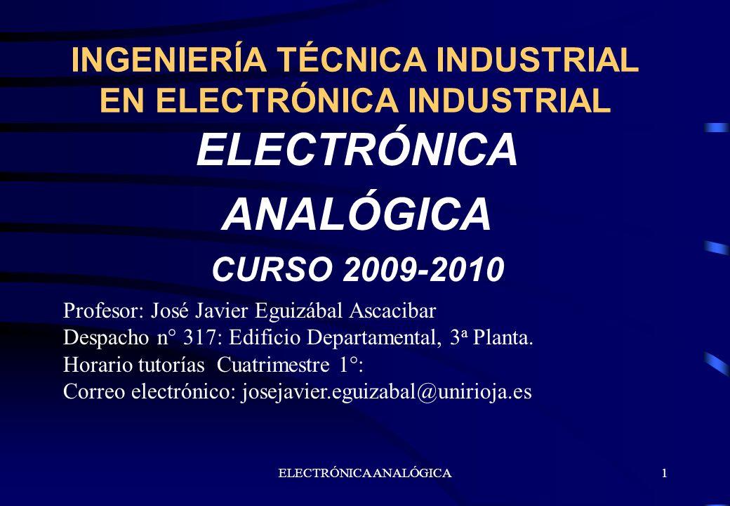 ELECTRÓNICA ANALÓGICA1 INGENIERÍA TÉCNICA INDUSTRIAL EN ELECTRÓNICA INDUSTRIAL ELECTRÓNICA ANALÓGICA CURSO 2009-2010 Profesor: José Javier Eguizábal A