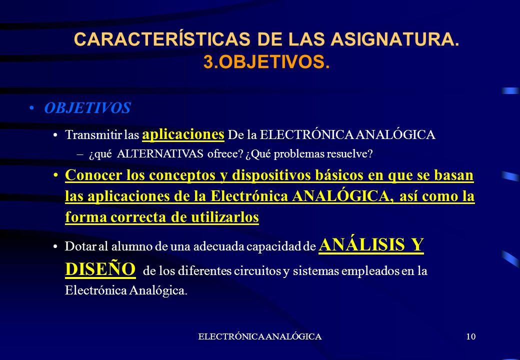 ELECTRÓNICA ANALÓGICA10 OBJETIVOS Transmitir las aplicaciones De la ELECTRÓNICA ANALÓGICA –¿qué ALTERNATIVAS ofrece? ¿Qué problemas resuelve? Conocer