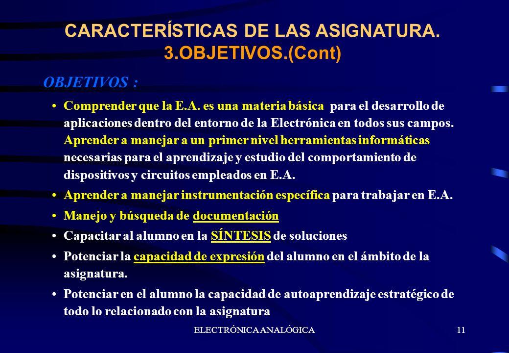 ELECTRÓNICA ANALÓGICA11 CARACTERÍSTICAS DE LAS ASIGNATURA. 3.OBJETIVOS.(Cont) OBJETIVOS : Comprender que la E.A. es una materia básica para el desarro