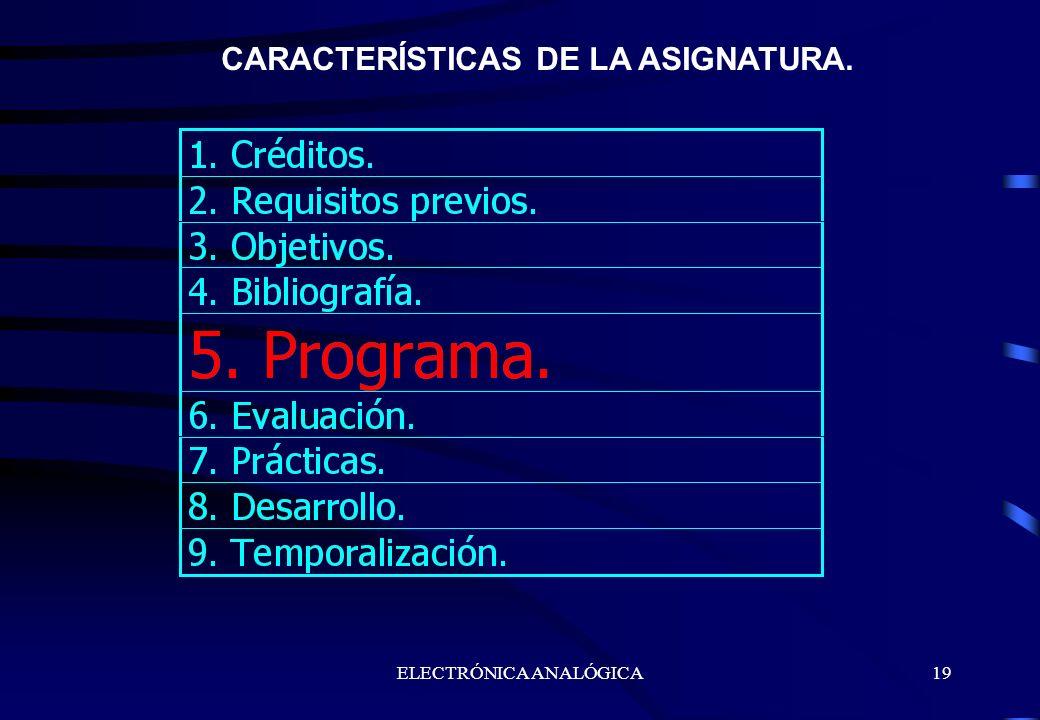 ELECTRÓNICA ANALÓGICA19 CARACTERÍSTICAS DE LA ASIGNATURA.