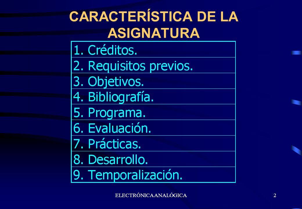 ELECTRÓNICA ANALÓGICA2 CARACTERÍSTICA DE LA ASIGNATURA