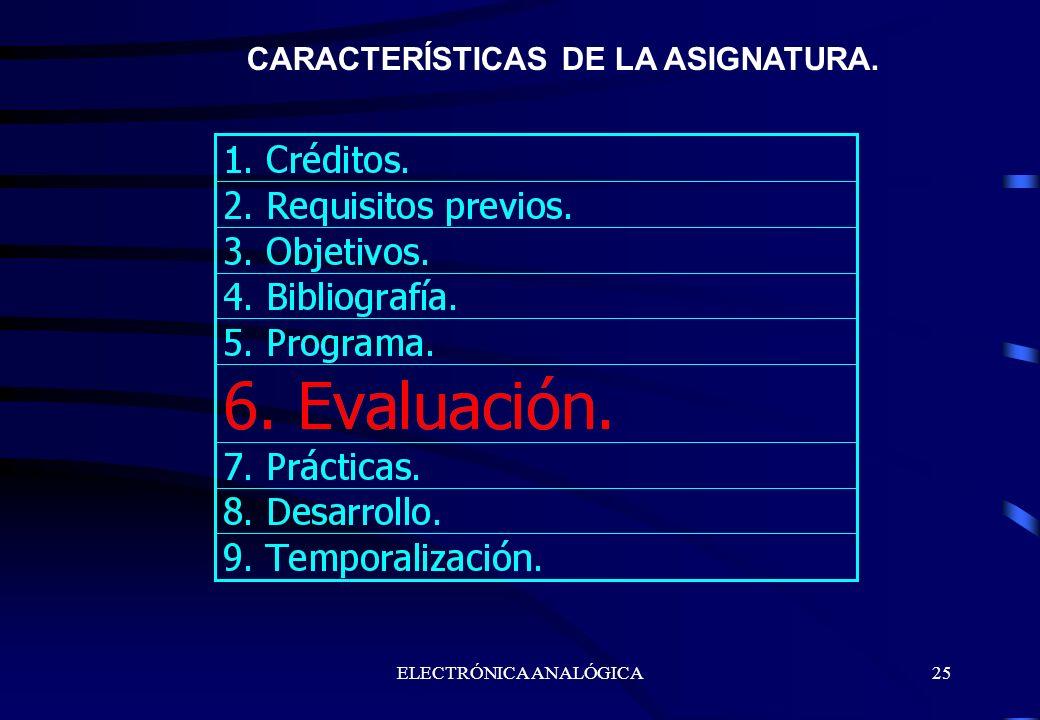 ELECTRÓNICA ANALÓGICA25 CARACTERÍSTICAS DE LA ASIGNATURA.