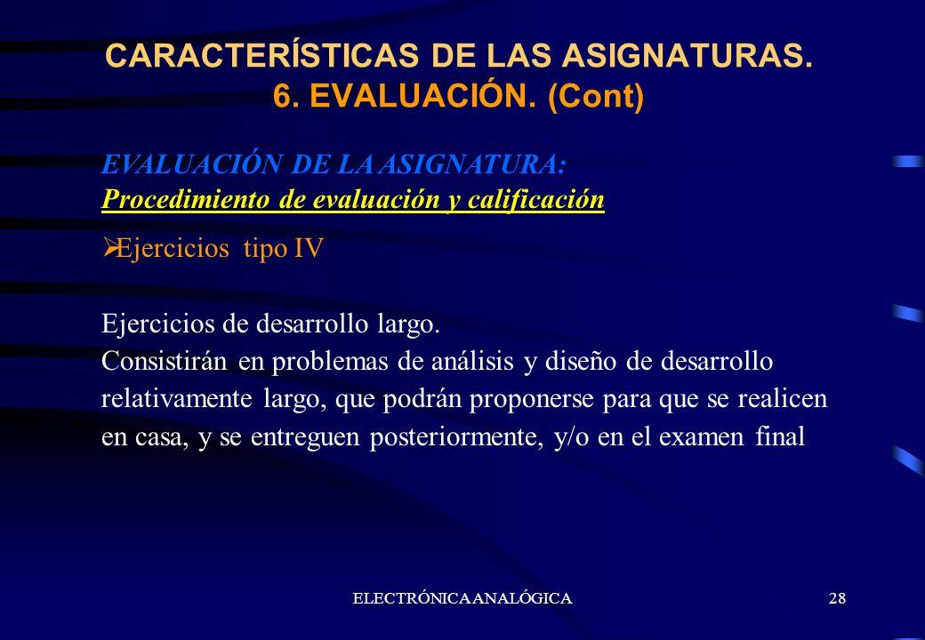 ELECTRÓNICA ANALÓGICA28 EVALUACIÓN DE LA ASIGNATURA: Procedimiento de evaluación y calificación Ejercicios tipo IV Ejercicios de desarrollo largo. Con