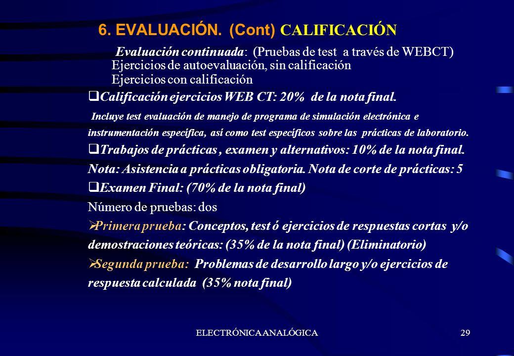 ELECTRÓNICA ANALÓGICA29 Evaluación continuada: (Pruebas de test a través de WEBCT) Ejercicios de autoevaluación, sin calificación Ejercicios con calif
