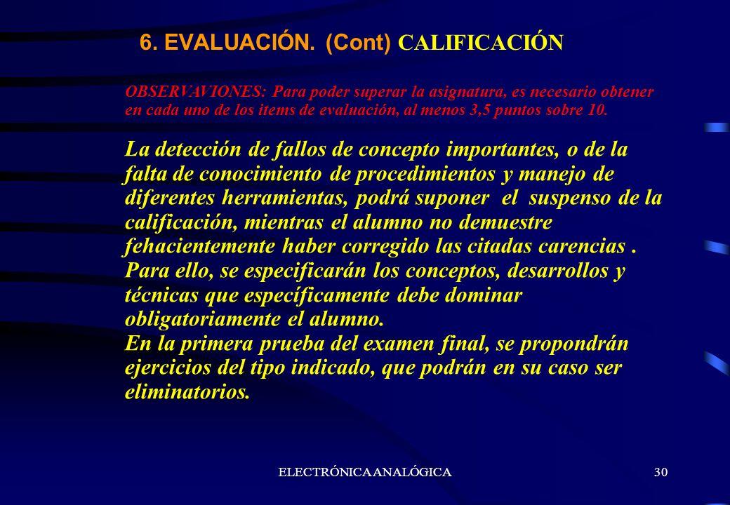 ELECTRÓNICA ANALÓGICA30 OBSERVAVIONES: Para poder superar la asignatura, es necesario obtener en cada uno de los items de evaluación, al menos 3,5 pun