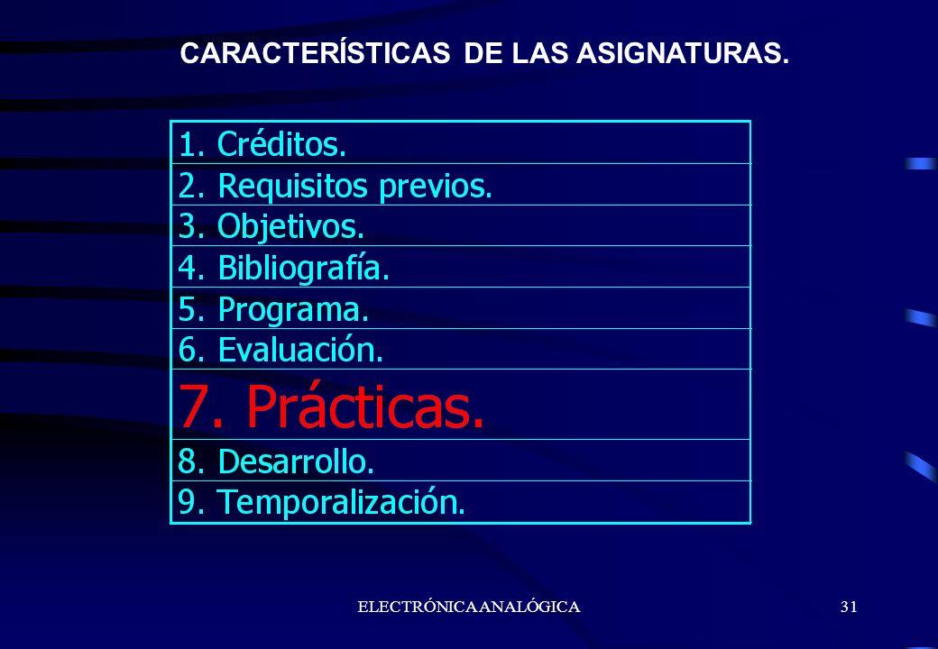 ELECTRÓNICA ANALÓGICA31 CARACTERÍSTICAS DE LAS ASIGNATURAS.